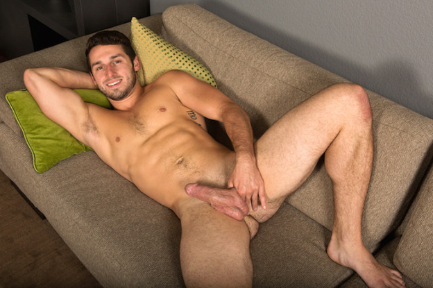 Coty spurting cum from his hard jock cock in a jack off solo 10