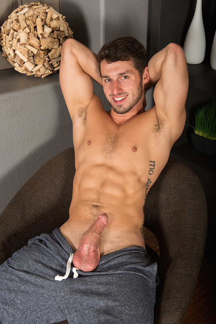 Coty spurting cum from his hard jock cock in a jack off solo 6