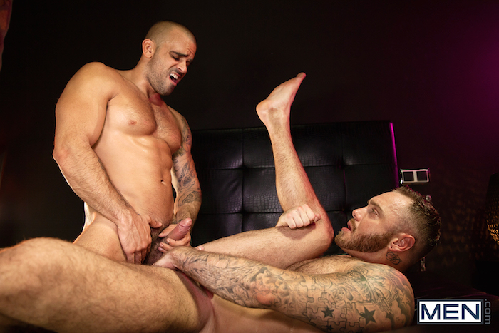 Damien Crosse and Dominique Hansson share a hot gay muscle fuck 11