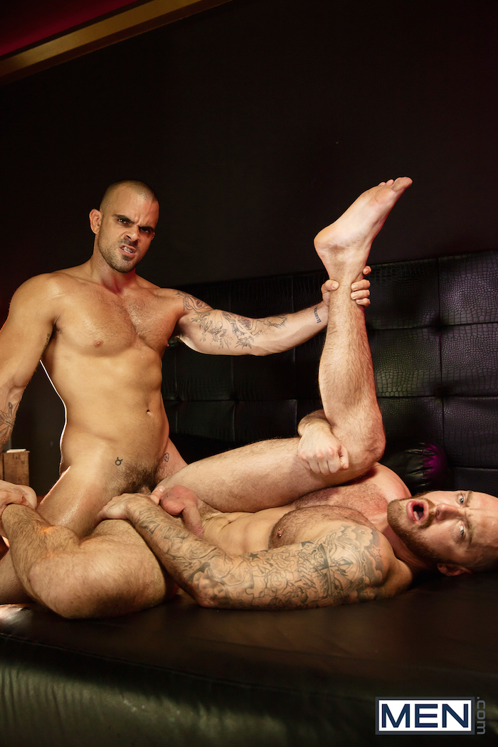 Damien Crosse and Dominique Hansson share a hot gay muscle fuck 9