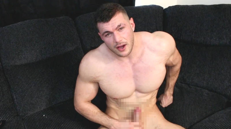 muscle man Joshua Armstrong stroking his hard cock
