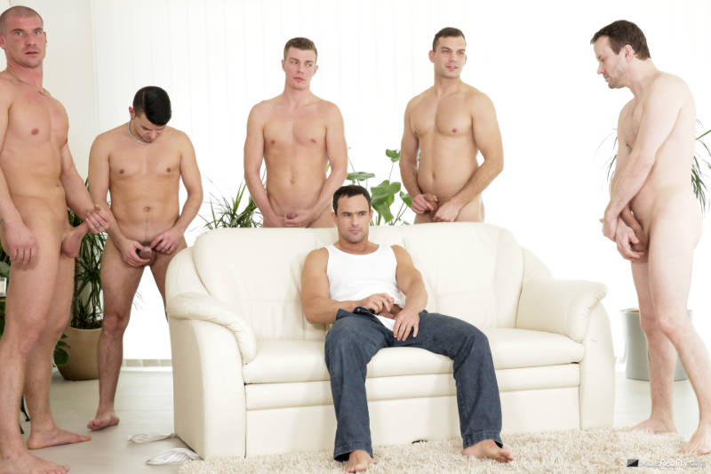 horny men jerking off together
