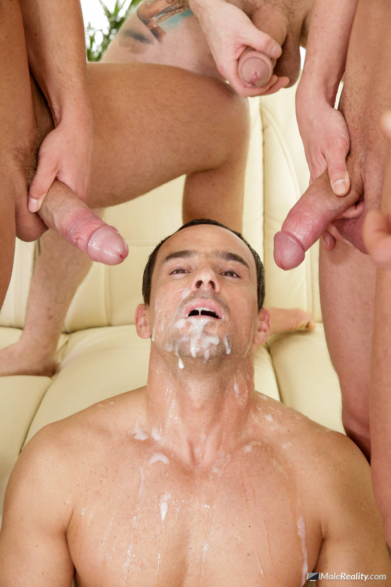 Horny Bukkake Gay Gets Cum Shower