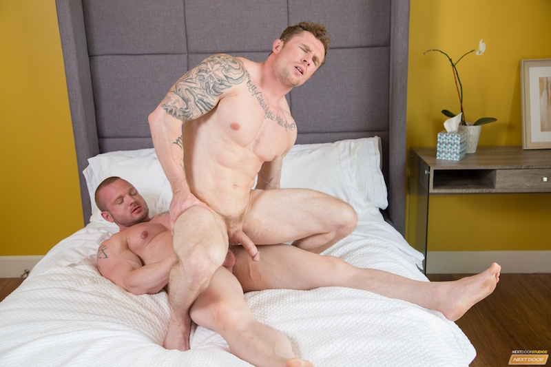 muscle man rides a hard cock while his own big dick swings