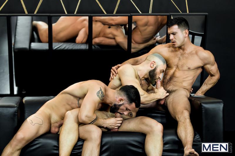 three men sucking cocks