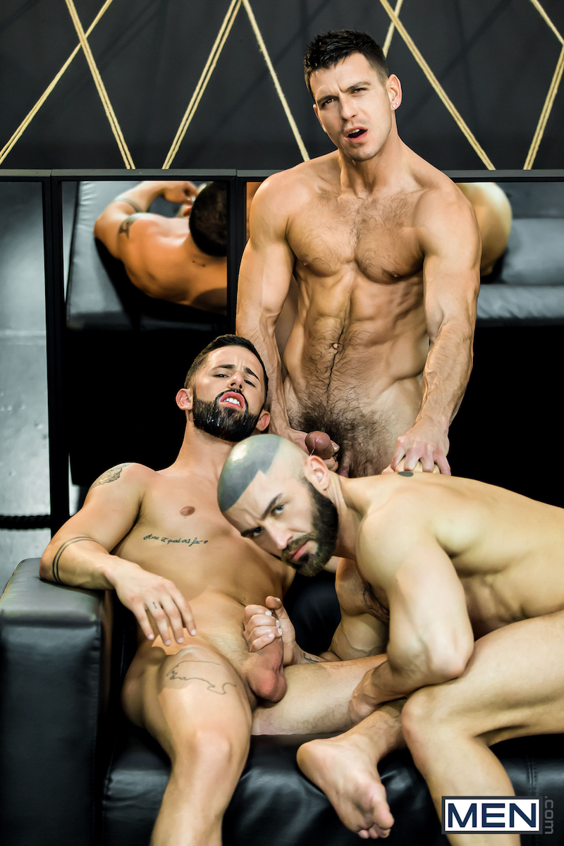 three muscle men cum together