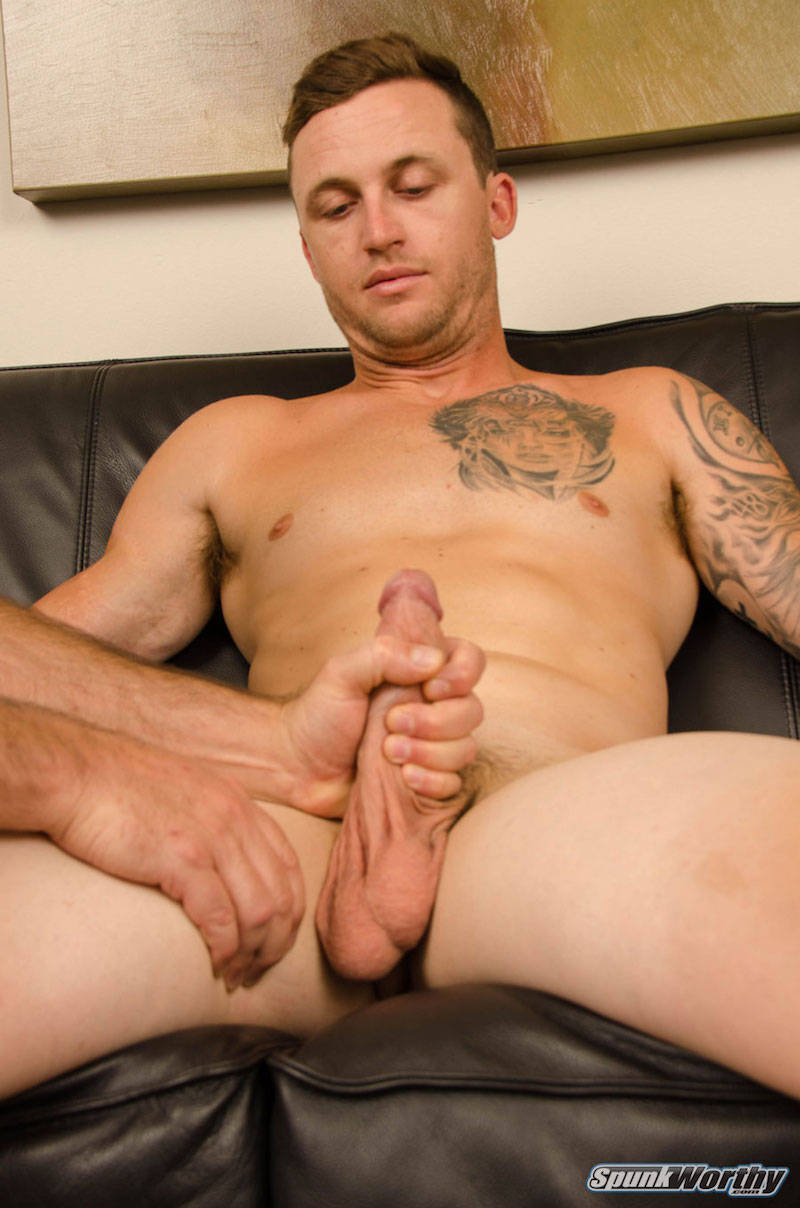 straight jock with big balls being jerked off by another man